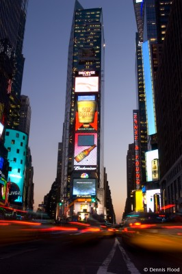 Times Square Traffic at Dusk