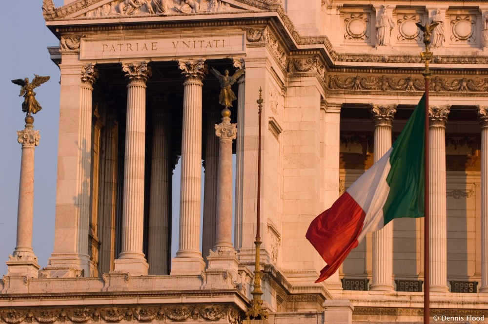 Italian Flag Near Il Vittoriano  Dennis Flood Photography
