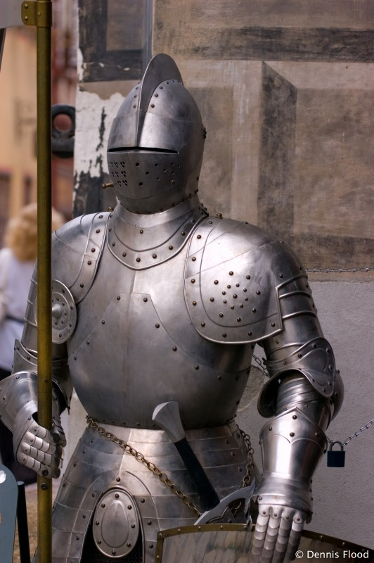 A complete suit of armor in the streets of Cesky Krumlov, Czech Republic.