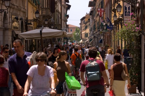 Crowded Street in Pisa
