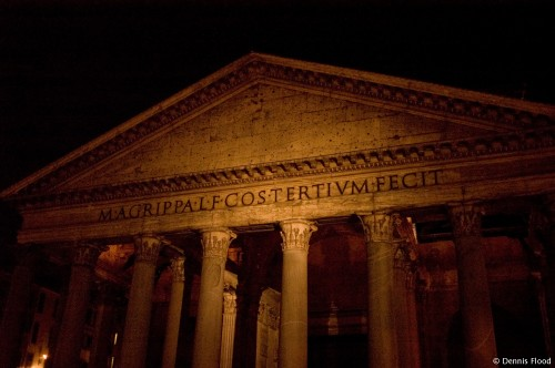 Pantheon Facade at Night