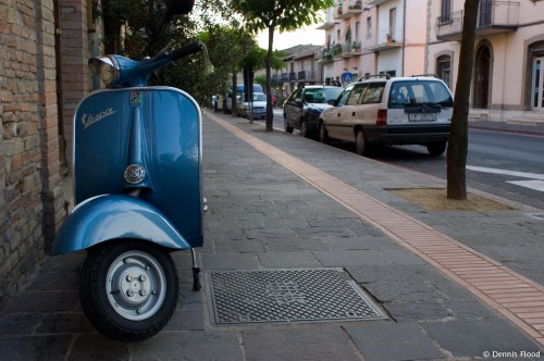 Parked Blue Vespa