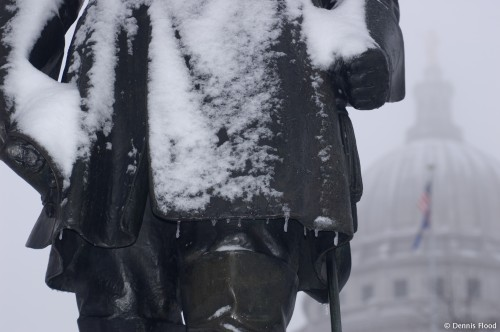 Snowy, Icy, Leif Erikson Statue