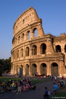 Tourists Outside the Colosseum