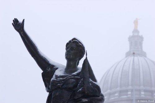 Wisconsin State Capitol Statues in Winter