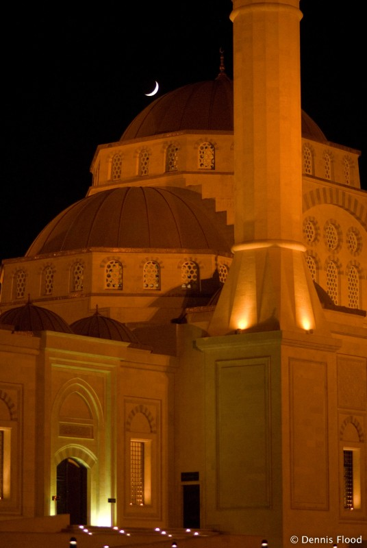 Mosque at Night with Crescent Moon